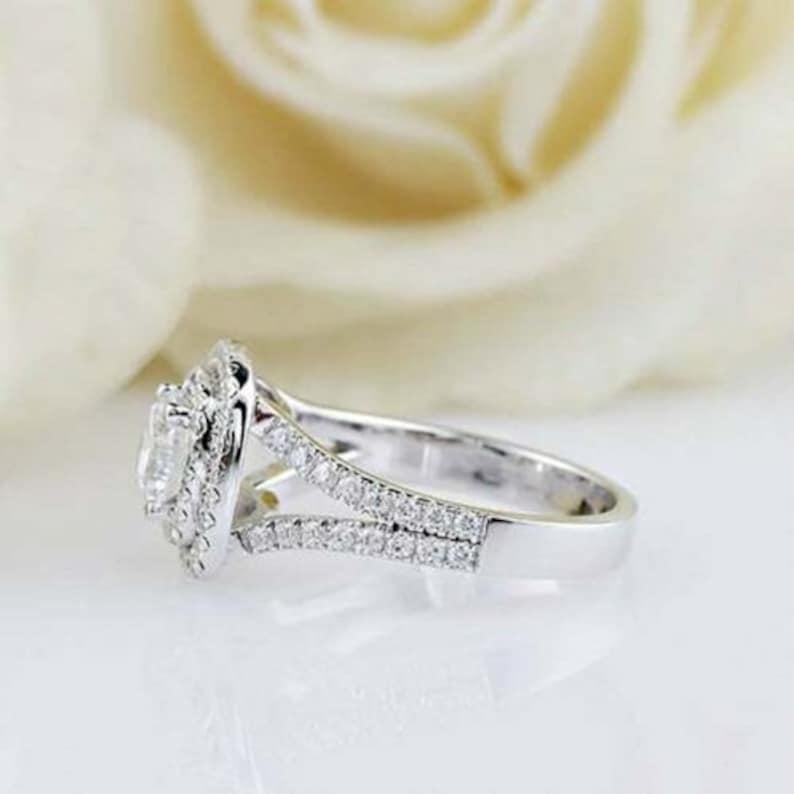 Double Halo Wedding Bridal RingSplit Shank RingEngagement RingProposal RingGift For Her1.50CT Round Diamond925 Silver14K White Gold