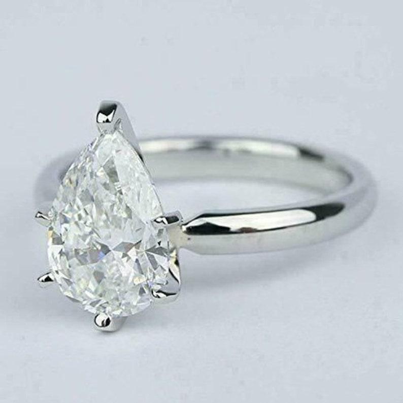 Solitaire Pear Cut Engagement RingWedding Bridal RingTear Drop RingGift For HerProposal Rings3.00 CT Diamond925 Silver14K White Gold