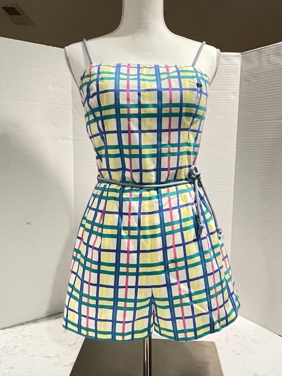 Vintage 1960's Plaid Romper Playsuit