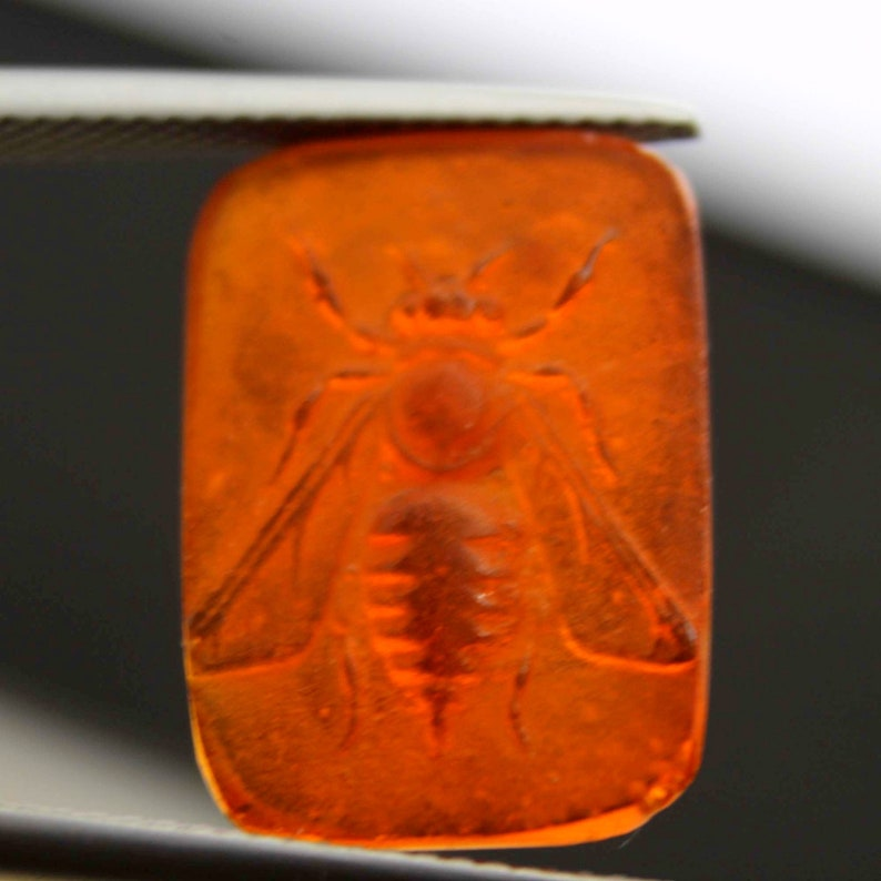 Ancient Antique Unique, Roman Art Engrave Greek mythology For make jewelry Handmade Real Venetian Glass Greek Bee Intaglio Carved