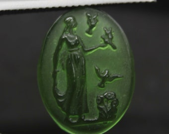 Handmade Real Venetian Glass Aphrodite Intaglio, Roman Art, Greek mythology, Carved, Engrave, For make jewelry, Ancient Antique Unique,