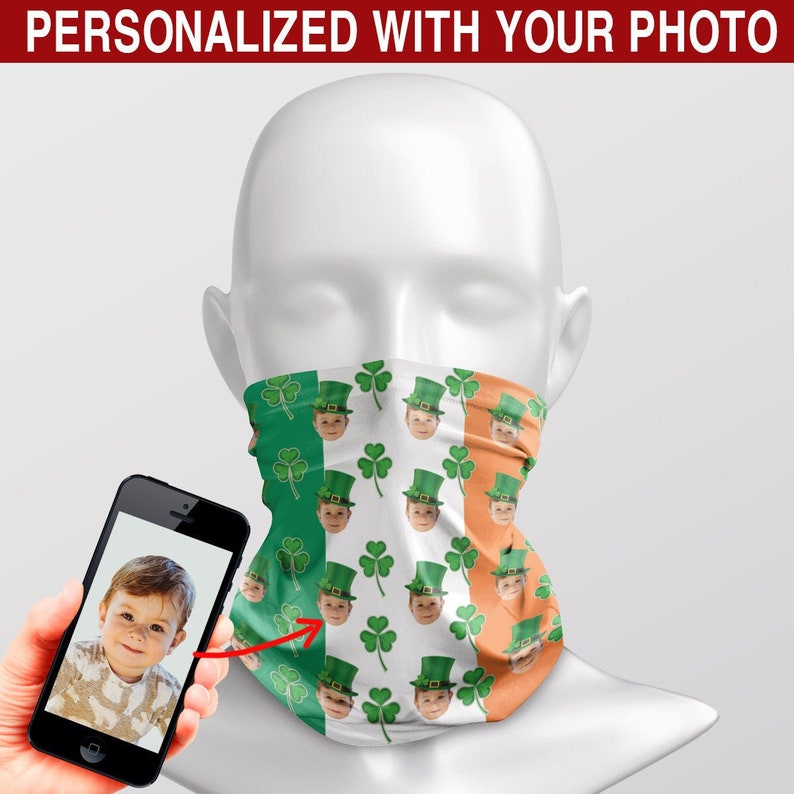 Personalized Custom Face St Perfect gift for SpecialMe on St Patrick/'s Day Patrick Shamrock Ireland FlagAll Over Print Neck Gaiter