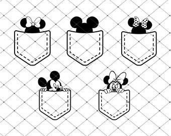 Mickey & Minnie Pocket SVG, PNG, PDF, Mickey Monogram, Cricut, Silhouette, Cricut svg, Silhouette svg, Digital Download, Split Svg,