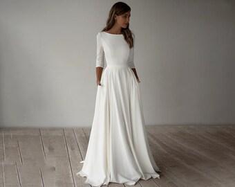 Simple Wedding Dress - Custom Size Modest Wedding Dress - Jersey Bridal Gown - Scoop Neck Bride Dress with Three Quarter Sleeves