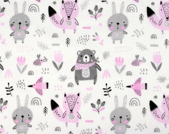 """Cotton fabric flannel animal """"Light pink"""" width 160 cm length from 50 cm"""