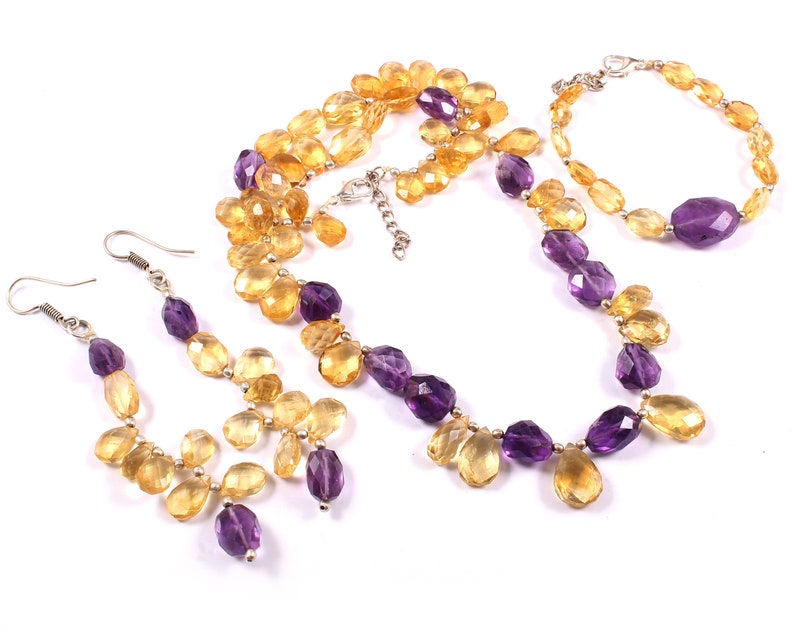 Amethyst Citrine Gemstone Facited  Necklace with earrings and Bracelet,Gemstone Beads Handmade Necklace,Amethyst citrine Beaded Necklace