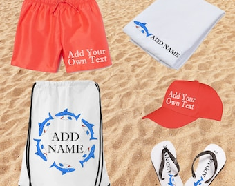 PERSONALISED Kids Beach Ready Gift Set   Flip Flops   Towel   Cap   Swim Shorts   Drawstring Bag   Beach Clothes   Kids Summer Clothes