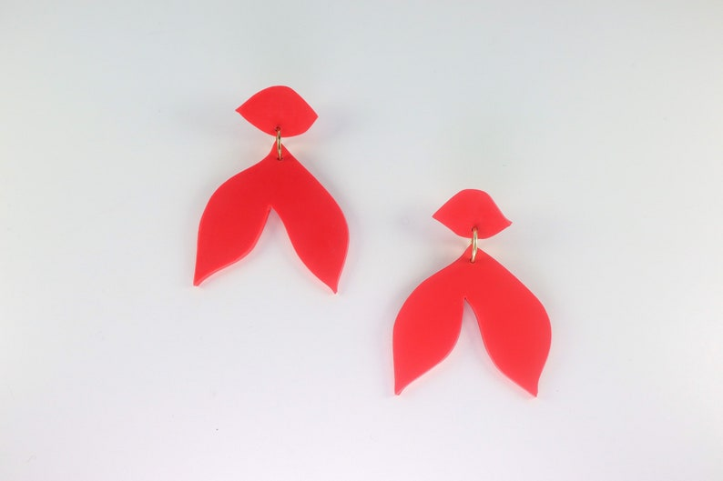 Polymer clay earrings HANA RED EARRINGS