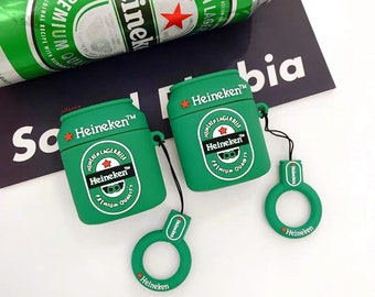 Funny AirPods Case Heineken Evian CocaCola Case Cover Earphones Case Animal AirPods 1-2/& Pro Case AirPods gift with Keychains