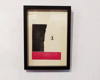 """Linocut of """"Jump!"""" / Come to the edge"""