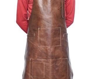 Apron Full Grain Luxury Soft Leather Handmade Hobbyists Woodwork Blacksmith Butchers with Pockets Craft Apron Work apron