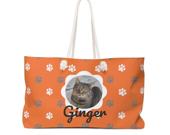Silver Gray Tabby Cat Canvas Weekender Tote Bag Weekend Bag for Cat Mom Cute Cat Gift for Cat Lovers
