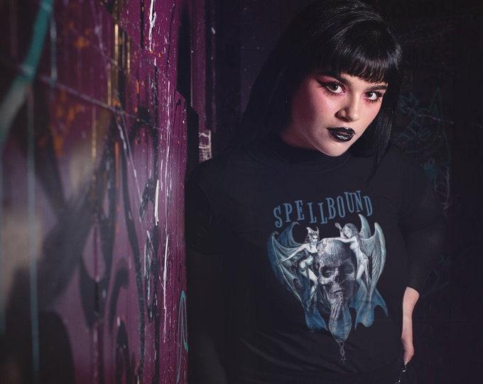 SPELLBOUND - Gothic Skull Angel & Demon - Unisex Jersey Short Sleeve BLACK Tee - S to 3XL
