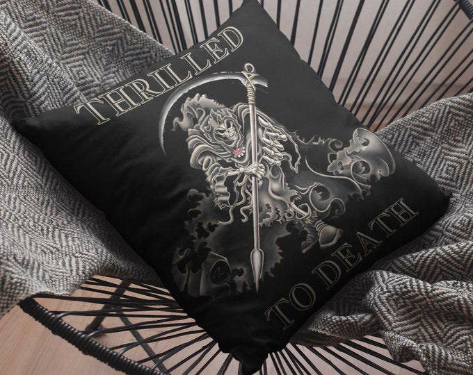 """Thrilled To Death - GRIM REAPER - Black - Spun Polyester Square Pillow 14""""x14"""""""