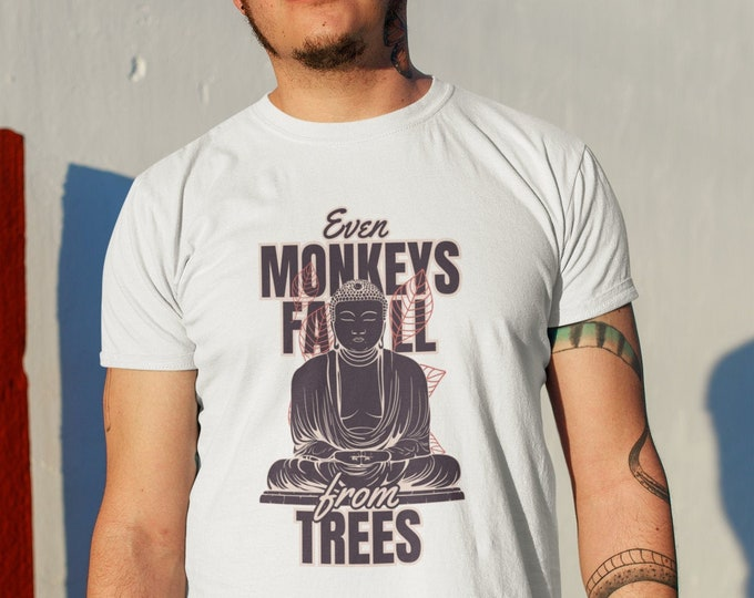 """JAPANESE PROVERB """"Even monkeys fall from trees"""" Unisex Heavy Cotton Tee - S to 5XL - 7 Colours"""