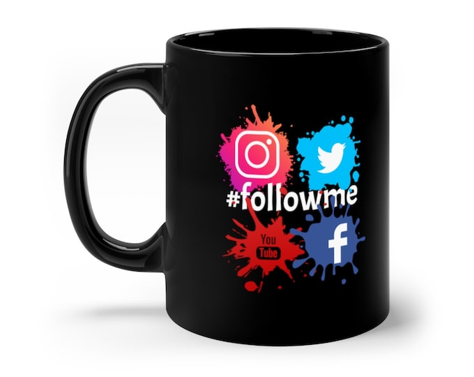 Hashtag #followme Facebook Twitter Youtube Instagram 11oz Black Mug