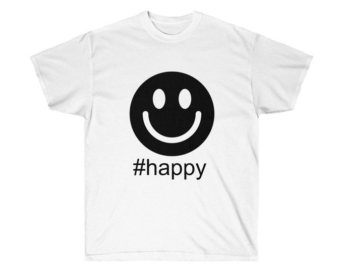 HASHTAG #happy- 10 Colours - Unisex heavy Cotton Tee - S to 3XL