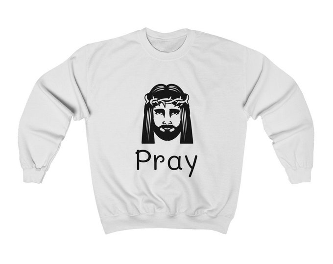 Jesus - PRAY - WHITE Unisex Heavy Blend Crewneck Sweatshirt
