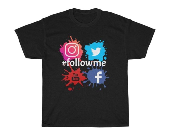 Hashtag #followme Facebook Twitter Youtube Instagram BLACK Unisex Heavy Cotton Tee