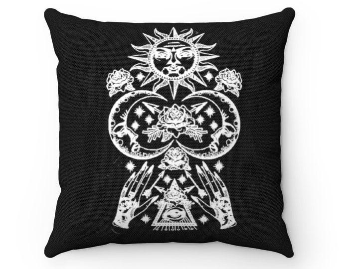 "Sun Moon Stars All Seeing Eye - BLACK - 14"" x 14"" Spun Polyester Square Pillow"