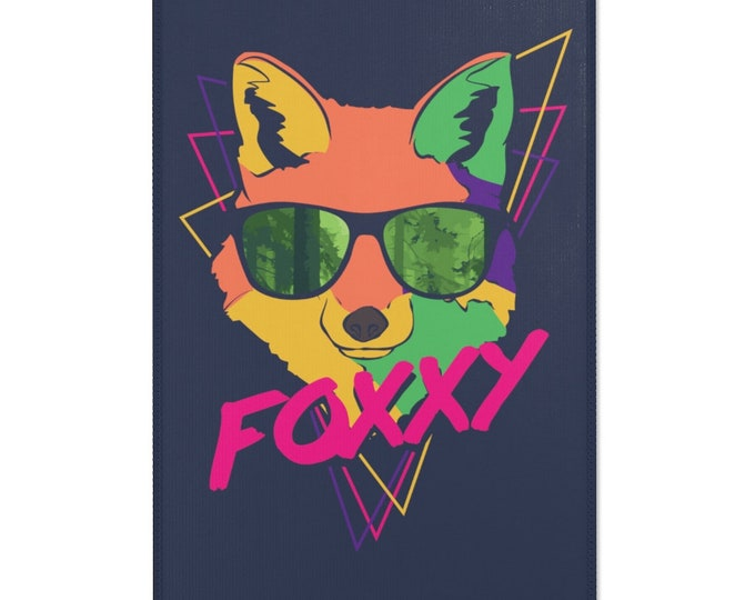 FOXXY Cool Fox graphic area rug - 24x36 inches - Midnight Express Blue