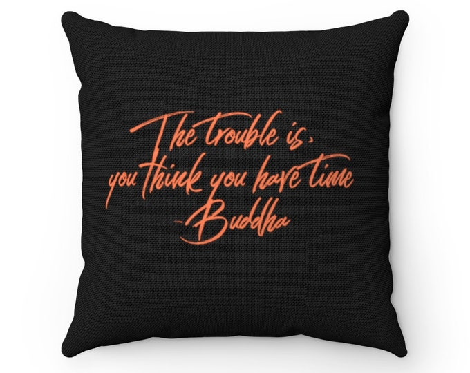 "Buddha Quote Spun Polyester Square Pillow Cushion 14""x14"""