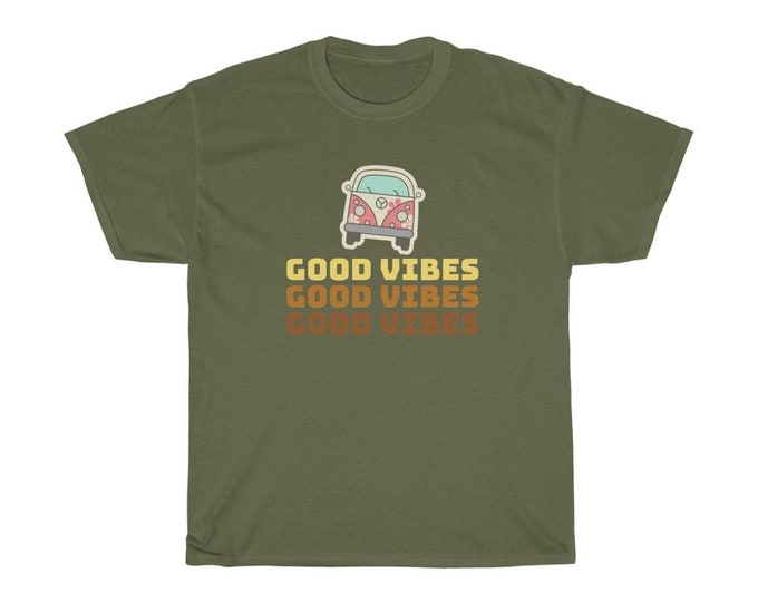 GOOD VIBES Unisex Heavy Cotton Tee S to 5XL