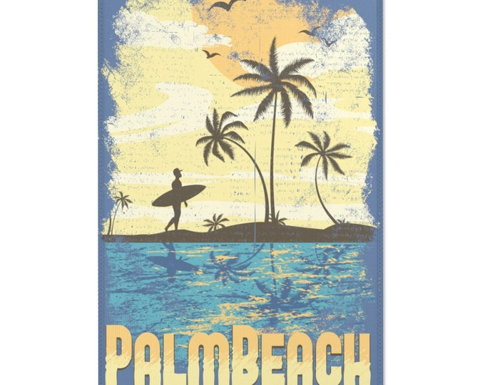 PALM BEACH graphic area rug - 24x36 inches - Waikawa Blue