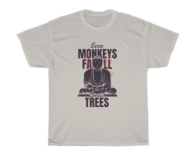 "Japanese Proverb ""Even monkeys fall from trees"" Unisex Heavy Cotton Tee"