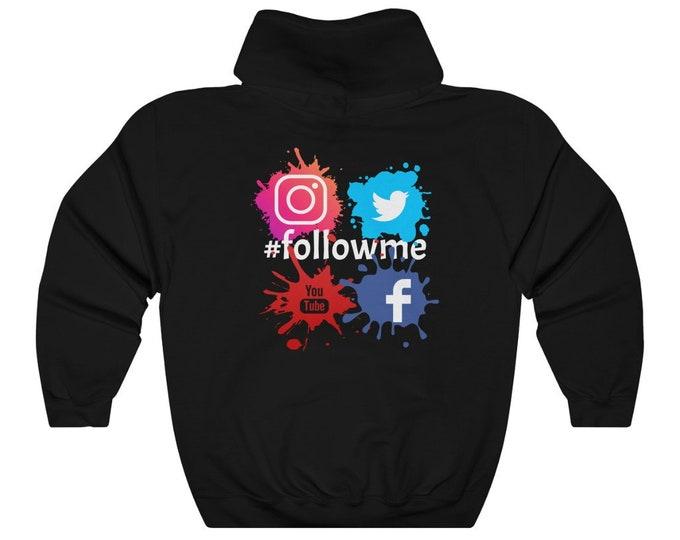 Hashtag #followme Facebook Twitter Youtube Instagram BLACK Unisex Heavy Blend Hooded Sweatshirt
