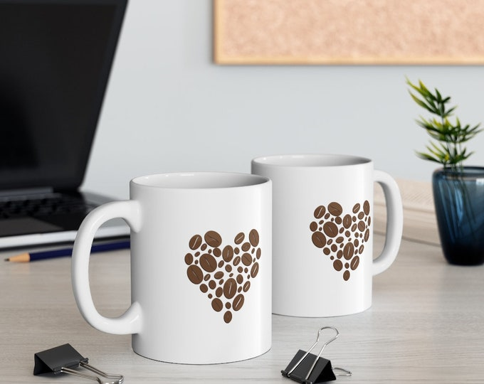 Coffee LOVE HEART - WHITE Mug 11oz