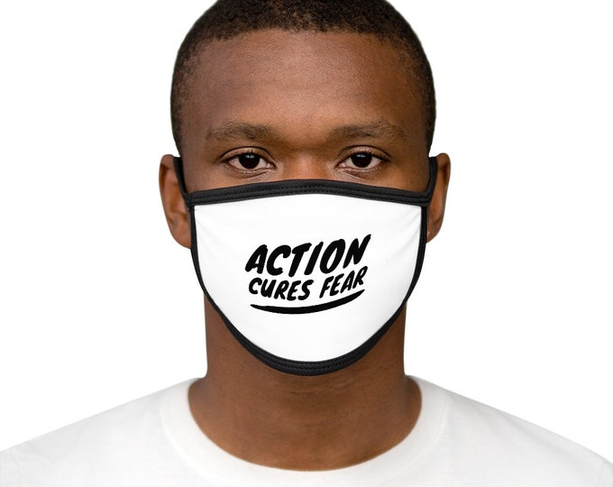 ACTION CURES FEAR Mixed-Fabric Face Mask