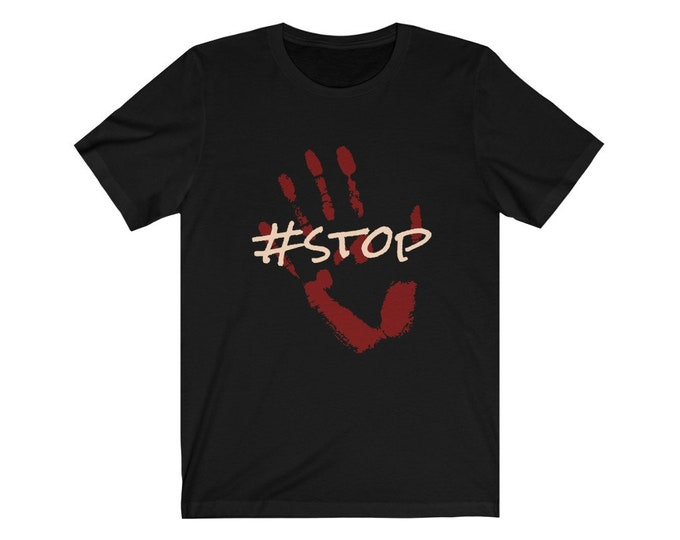 HASHTAG #stop Jersey Short Sleeve Tee - Black and Dark Grey - S to 3XL
