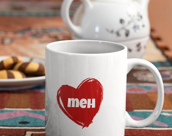 MEH - Love Heart - WHITE Mug 11oz