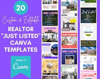 20 Realtor Canva Templates   Just Listed   Real Estate Instagram Templates   Realtor Marketing   Realtor Social Media   realtor templates