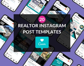 Canva Templates for Real Estate (Blue Theme)   Realtor Templates for Canva   Realtor Template   Real Estate Instagram Templates (20)