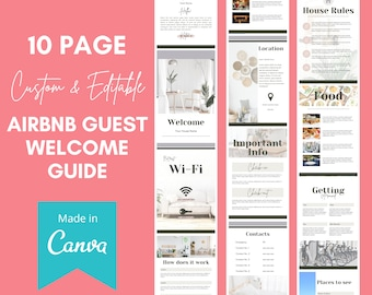 Airbnb Welcome Book Template Canva - Customizable Welcome Manual for Airbnb Guests - Airbnb Welcome Guide