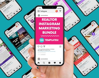 120 Instagram Posts Real Estate Marketing Bundle   Real Estate Templates   Instagram Canva Templates for Realtors & Real Estate Agents