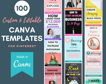 Canva Templates for Pinterest - 100 Ready to Edit & Fully Customizable Canva Template Pins - Canva Pinterest Templates