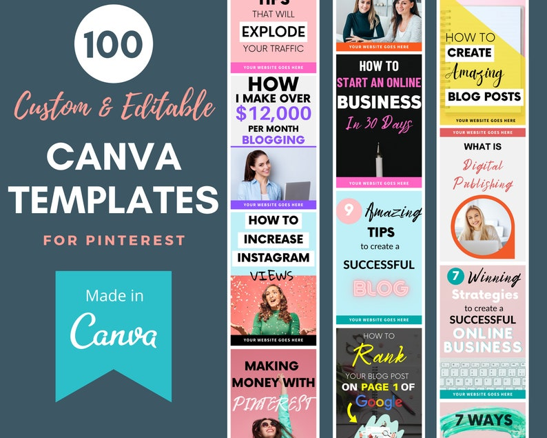 Canva Templates for Pinterest  100 Ready to Edit & Fully image 1