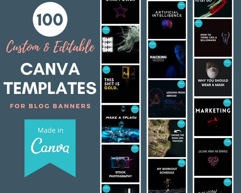 100 Custom Canva Templates  Black Background w/ White Text image 0