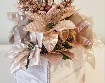 Rose Gold Poinsettia Arrangement