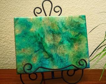 """9""""x12"""" Green Resin Art Piece"""