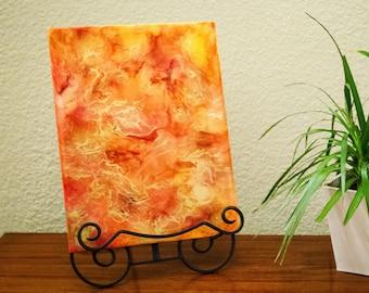 "11""x14"" Orange Resin Art Piece"