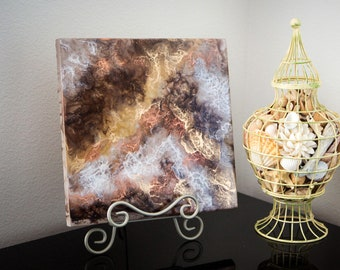 "12""x12"" Brown Resin Art Piece"