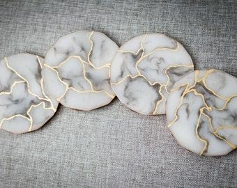 White Marble Resin Coasters