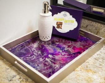 Purple Wooden Resin Art Tray