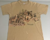 Vintage 90s Wolf Skagway Alaska Single Stitch Tshirt - L
