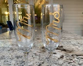 Mr. Mrs. Decal Only Wedding Stickers Champagne Flutes Wine Glass Yeti Tumblers