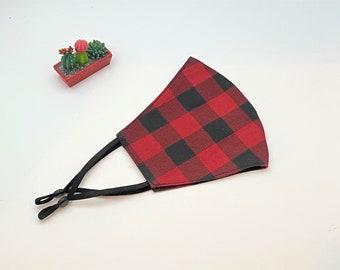 Christmas/Holiday /Red and Black Plaid Mask, Adult/Teen/kids/Mask, Washable Mask, Adjustable Ear Loops, Travel Mask